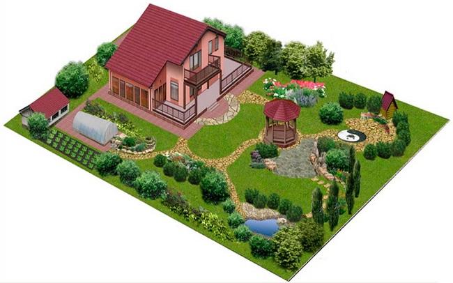 проект планировки участка с дорожками и местом отдыха