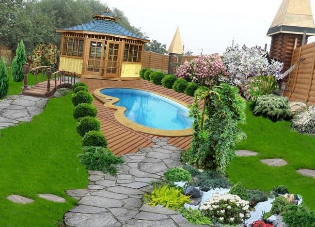 обустройство зоны отдыха на участке с беседкой и бассейном