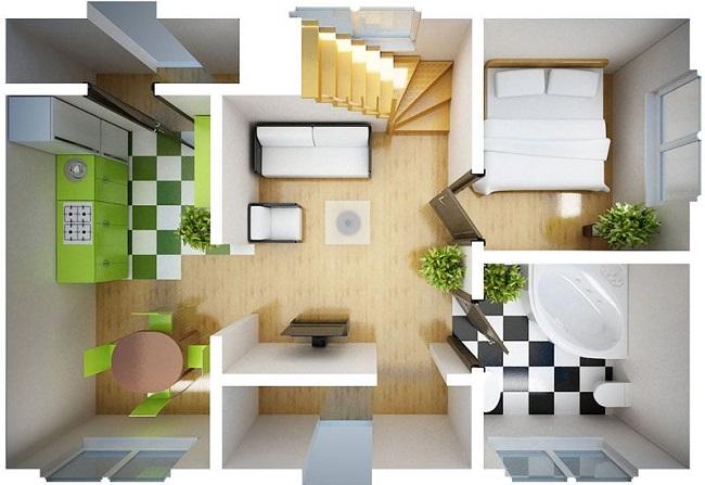 проект дома 6 на 6 с мебелью