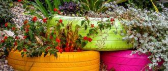 клумбы и цветники из покрышек