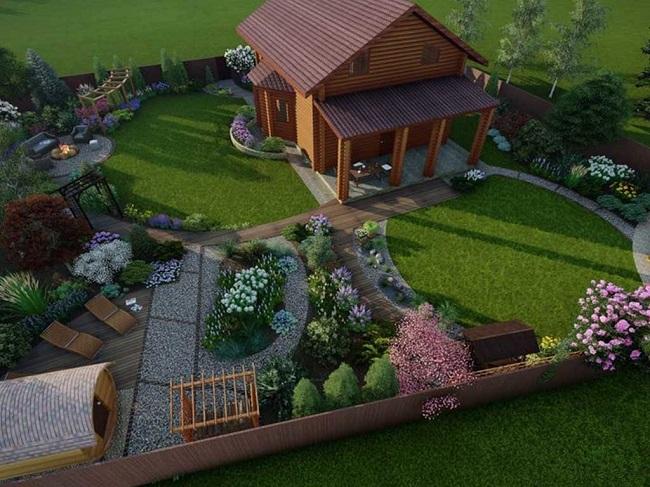 проект дачного участка с домом и цветниками