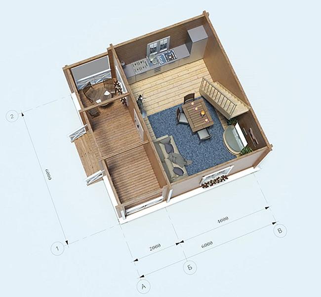 планировка двх+двухэтажного дома 6 на 6 с верандой с