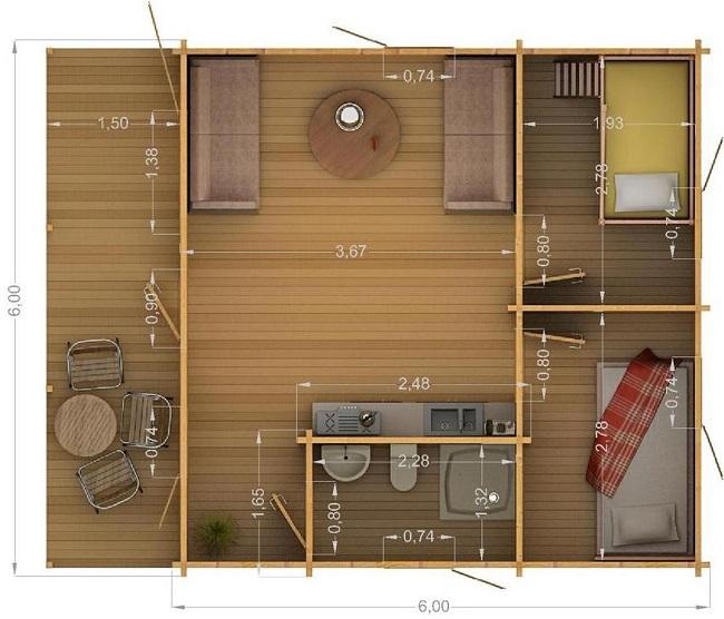 проект одноэтажного дома с совмещенной гостиной и кухней и двумя маленькими комнатами