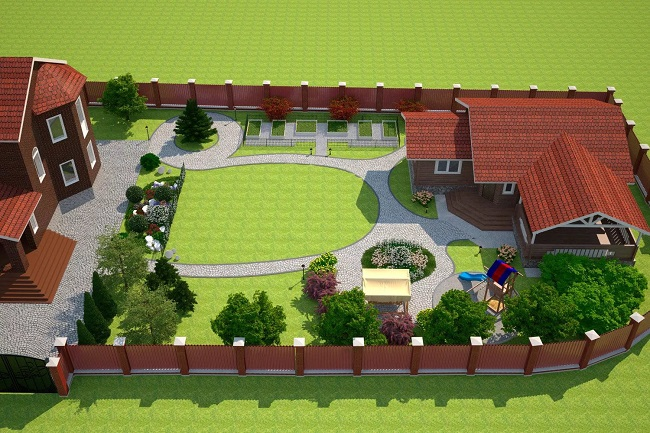 планировка заднего двора с хозпостройками и зоной отдыха