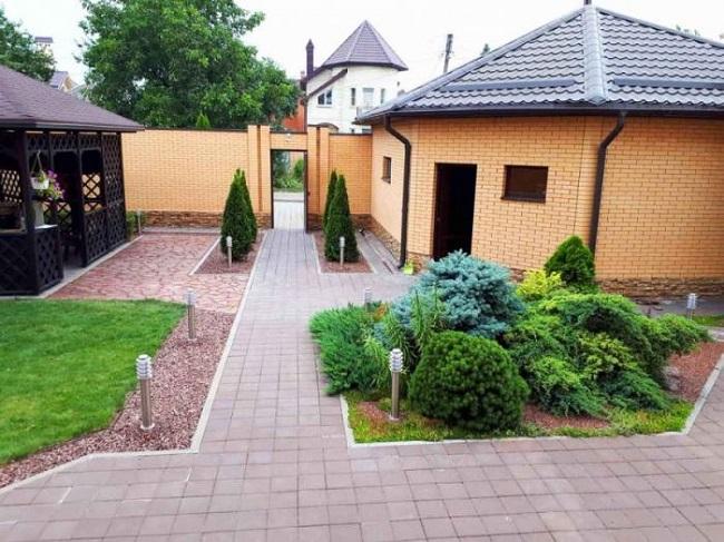 ландшафтный дизайн двора с постройками