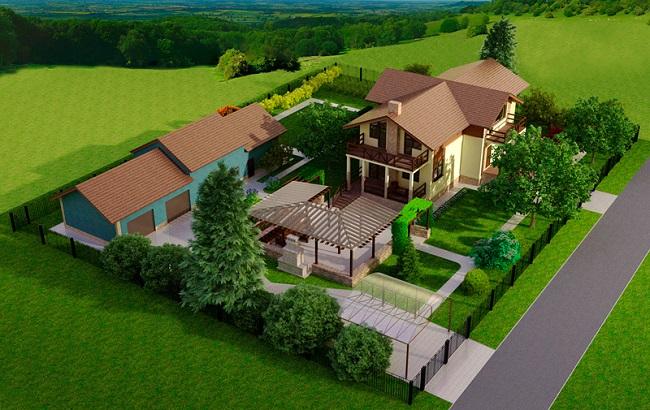проект загородного участка с местом отдыха и гаражом