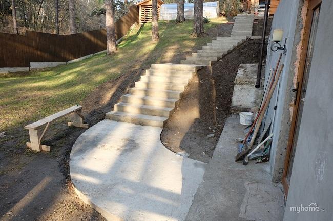 бетонное основание для лестницы на участке