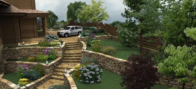 ландшафтный дизайн участка на склоне проект
