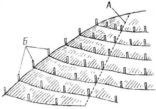 разметка склона для террасирования