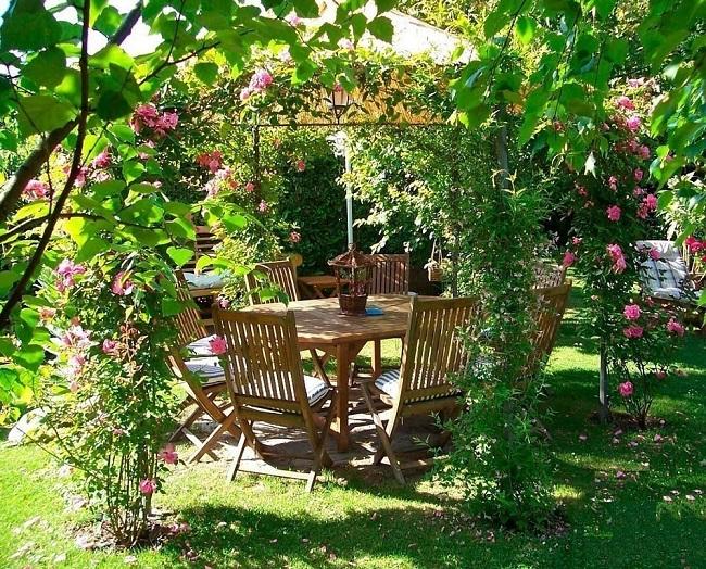 беседка с плетистыми розами в саду