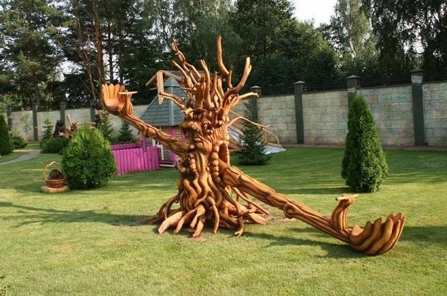 детские сказочные качели из резного дерева