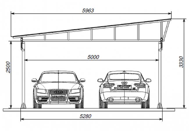 размеры навеса для двух авто с односкатной крышей