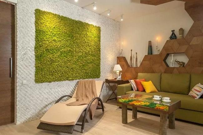 мох в интерьере квартиры