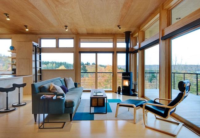 дома с печью с панорамными окнами