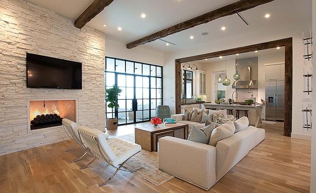 интерьер гостиной частного дома в современном стиле
