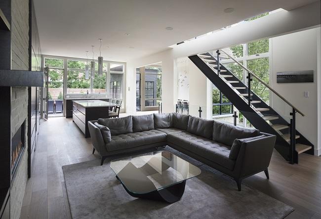интерьер в стиле модерн частного дома внутри\