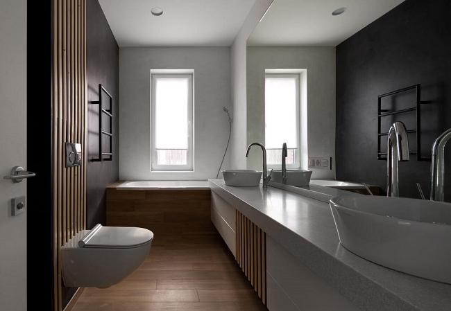 интерьер ванной частного дома в стиле минимализм
