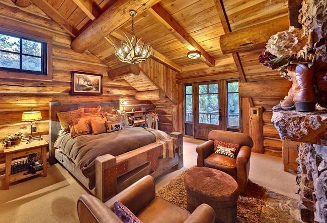 дизайн спальни частного дома в рустикальном стиле