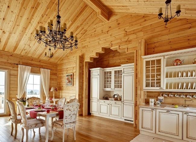 интерьер кухни бревенчатого дома в стиле прованс