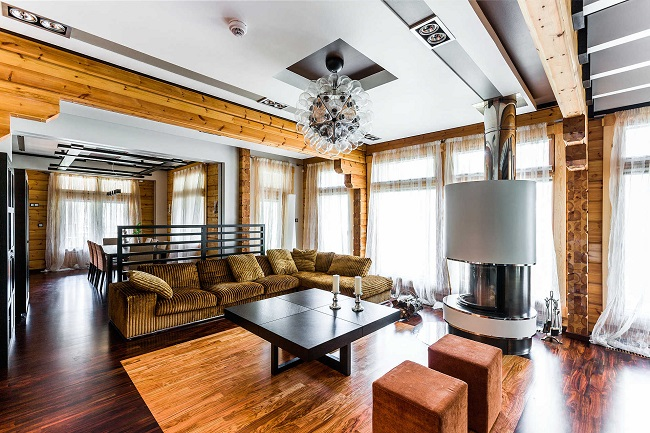 интерьер деревянного дома в современном стиле