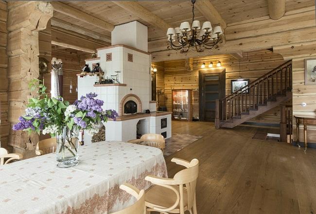 дизайн дома внутри с печкой