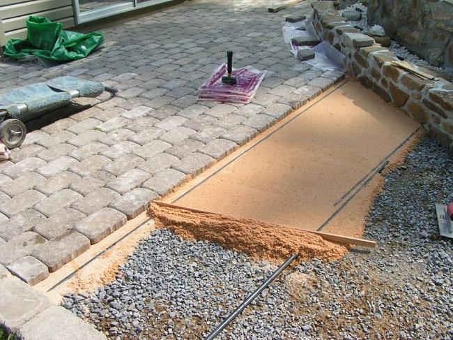 укладка брусчатки на песчаную основу