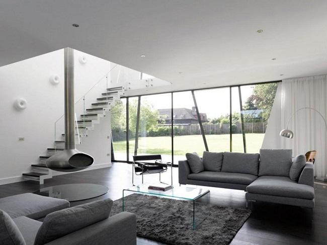 гостиная в стиле минимализм частного дома
