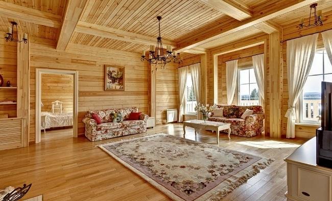 русский стиль в интерьере деревянного дома из бруса внутри