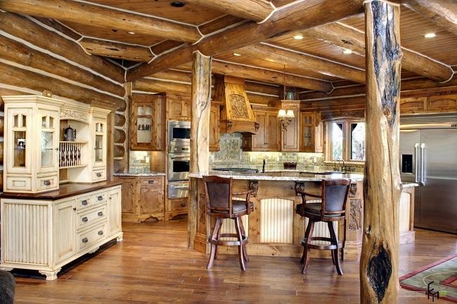 рустикальный стиль в интерьере кухни частного дома