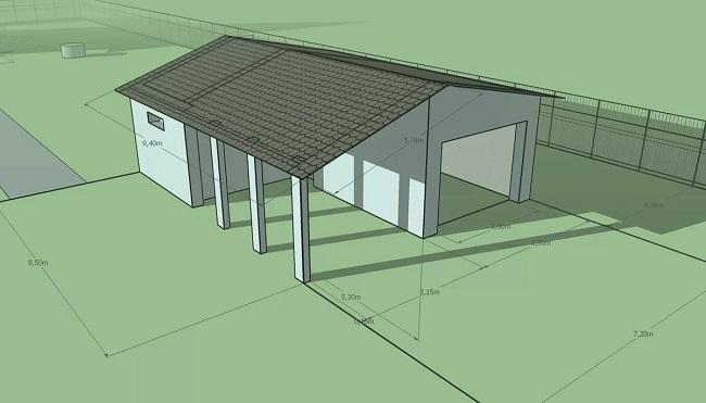 эскизный проект гаража с навесом и хозблоком