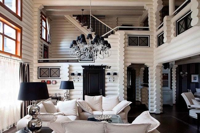 европейский стиль в бревенчатом доме внутри