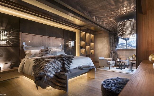 спальня в стиле шале частного дома