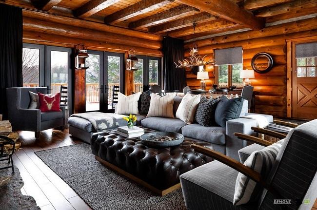 европейский стиль в интерьере дома из бревна