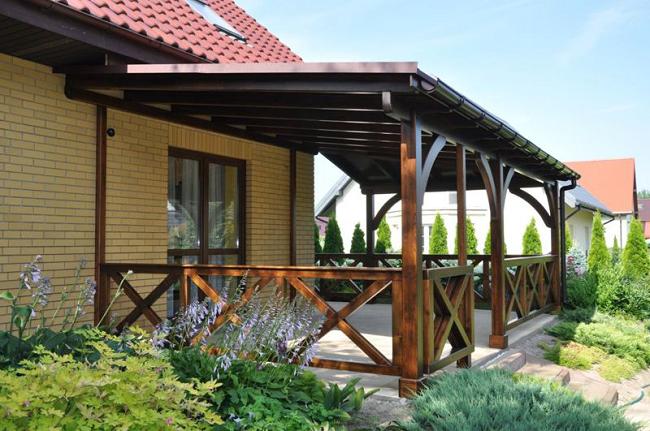 односкатная крыша для террасы