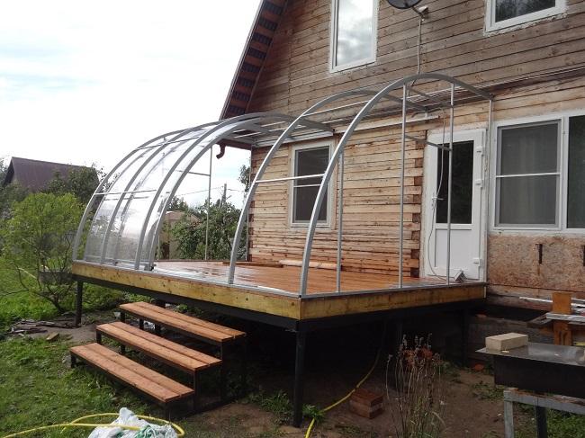 интересная крыша для террасы