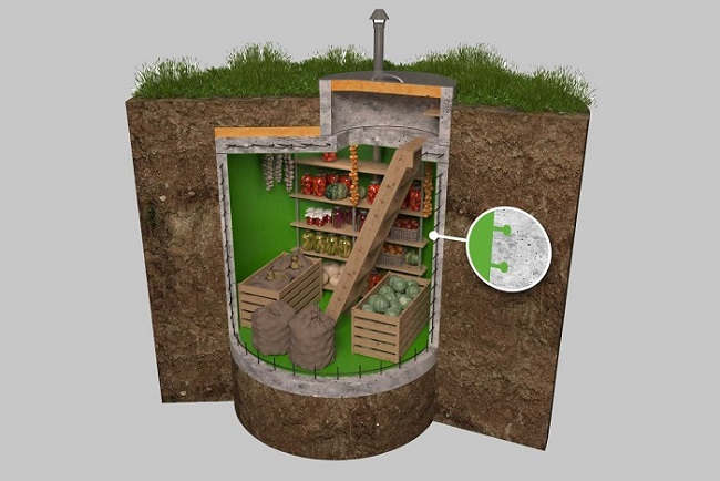 конструкция погреба из колец