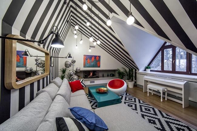 необычный дизайн мансардного этажа