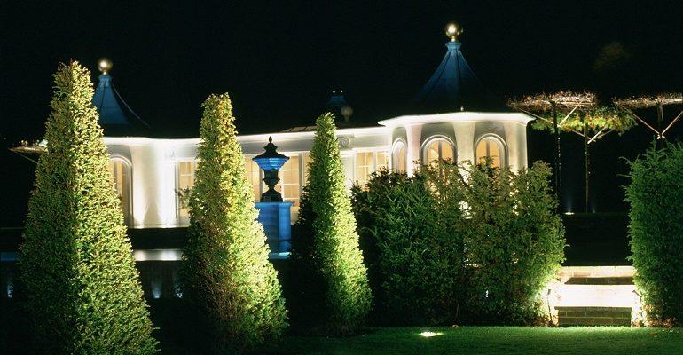 декоративная подсветка деревьемм кустарников на участке