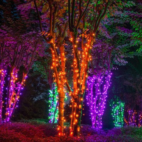 подсветка деревьев светодиодными гирляндами