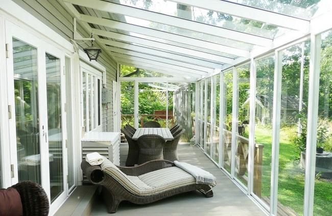 стеклянный потолок веранды