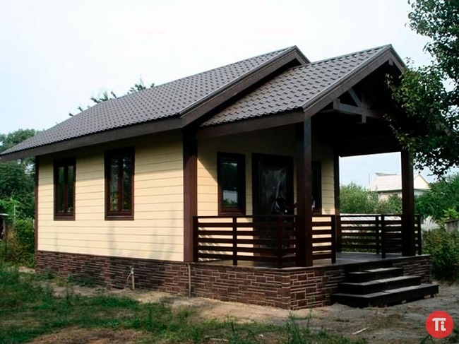 одноэтажный дом с террасой 6 на 6