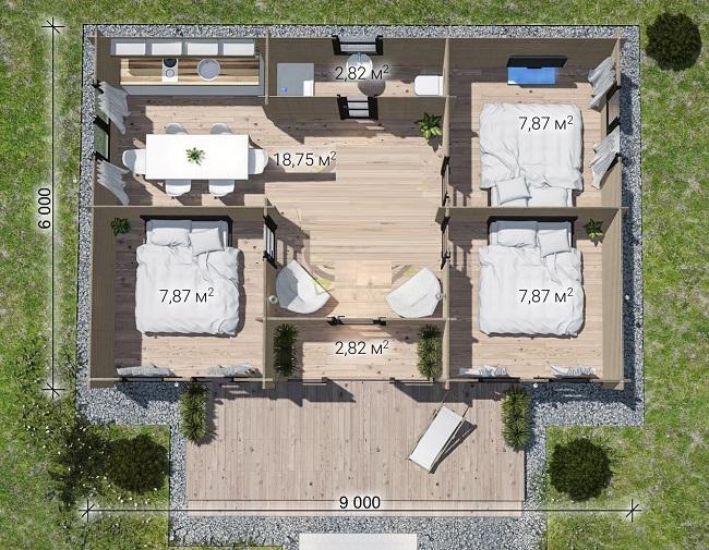планировка одноэтажного дома шале
