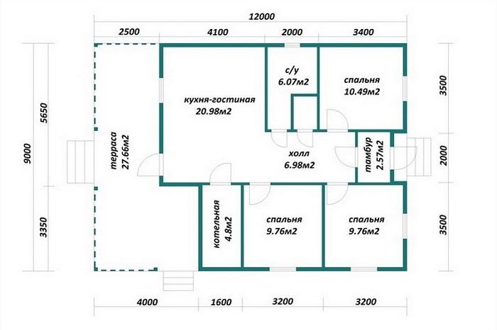 планировка дома 9 на 12 с террасой