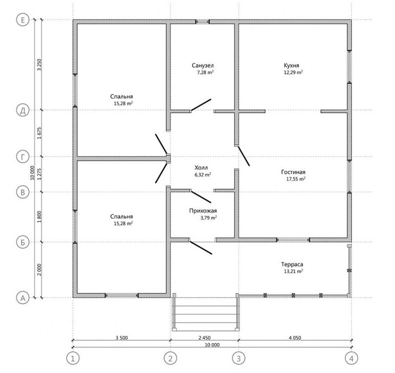 планировка одноэтажного дома 10 на 10