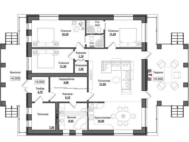 планировка одноэтажный дом 12 на 12 с террасой
