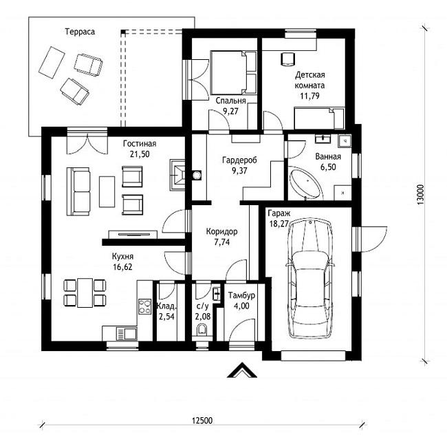 планировка одноэтажного дома с гаражом и террасой