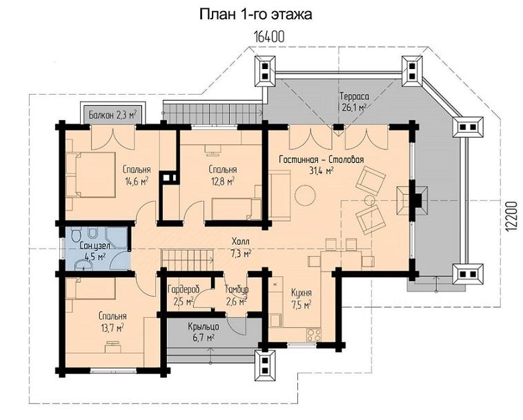 план первого этажа одноэтажного дома