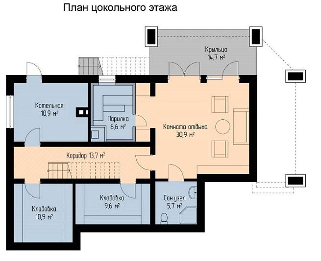 план цокольного этажа одноэтажного дома