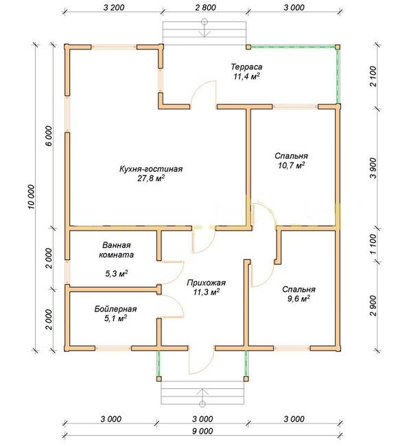 планировка одноэтажного дома 9 на 10 с террасой