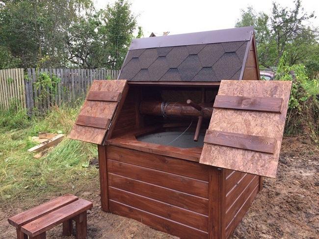 домик для колодца с воротом